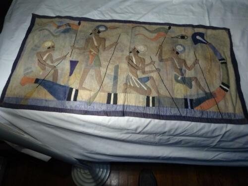 """1920s ANTIQUE EGYPTIAN REVIVAL TAPESTRY """"Appliqué Hand Sewn"""" VG SUPERB GRAPHICS"""