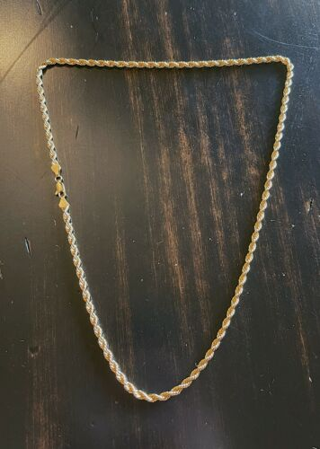 """Men's 14k Gold Stamped Rope Chain 24 Inches """" 4mm Necklace"""