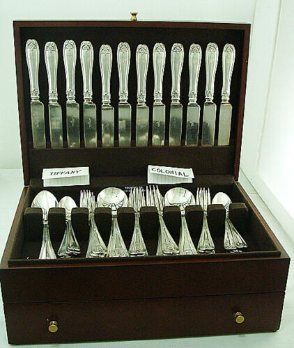 COLONIAL  by Tiffany Sterling Silver DINNER SET for 12x5 plus 3 Servers, 63 pcs.