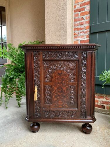 Antique English Carved Oak Corner Cabinet Marquetry Side Table 19th century