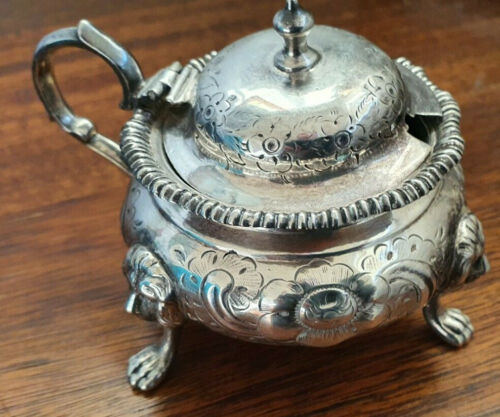 Victorian Silver Plate ? Mustard Pot with Lion Feet