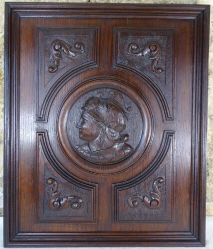 Antique French Deep Carved Oak Wood Panel/Door - Medieval Soldier / Woman