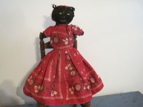 Old Primitive Topsy Turvy Black and White Cloth Rag Doll New England Find AAFA