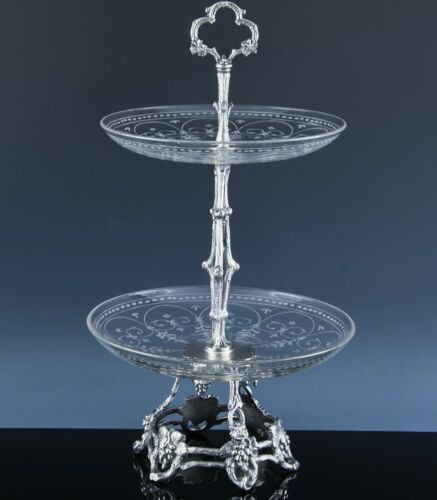 c1890 BOULENGER FRENCH GRAPE & VINE SILVER PLATE ETCHED GLASS DESSERT CAKE STAND