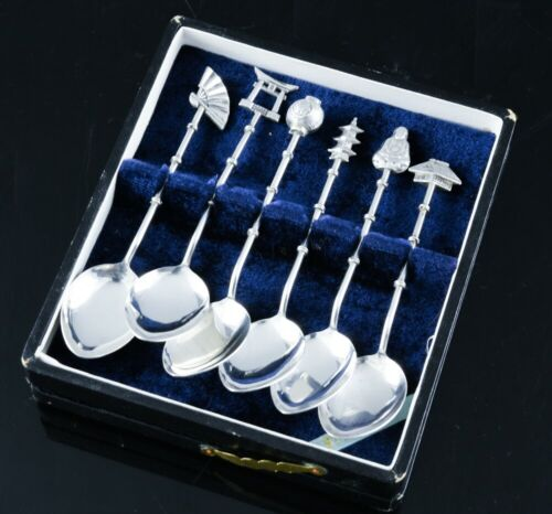 QUALTY CASED SET 6 JAPANESE STERLING SILVER BUDDHA FAN FIGURAL TEA COFFEE SPOONS