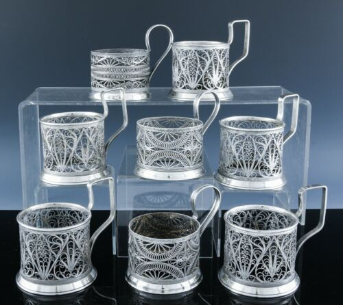 GREAT ESTATE LOT OF 8 OLDER RUSSIAN FILGREE SILVER PLATE TEA GLASS CUP HOLDERS