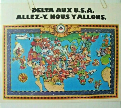DELTA AIRLINES POSTER FRANCE Delta of USA MAP Go for It-We are Going There ORIG.