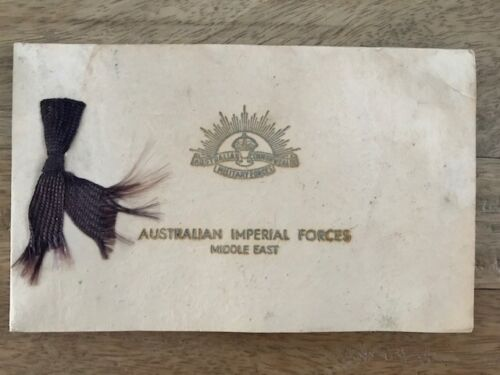 Aust. Imperial Forces Middle East WW11 Card A Coy. 2nd M.G. Bn. & A.C.M.F Badges1939 - 1945 (WWII) - 13977