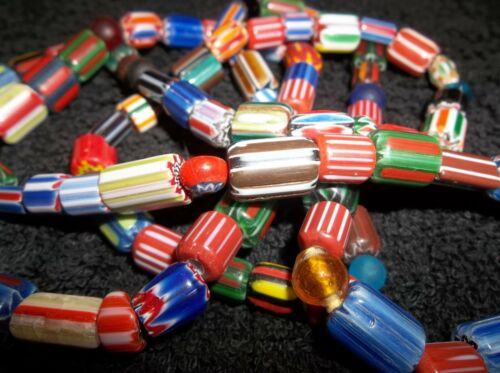 LONG THREE FOOT STRAND OLD CHEVRON TRADE BEADS NECKLACE AWESOME BEAUTIFUL COLORS