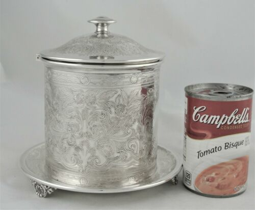 VICTORIAN ENGLISH BARKER BROS.BIRMINGHAM SILVER PLATE CHASED BISCUIT BOX