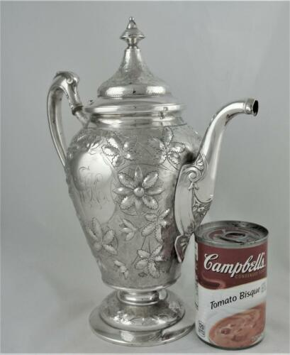 RARE VICTORIAN EMBOSSED REPOUSSE WM WILLSON & SON SILVER PLATE TEAPOT COFFEE POT