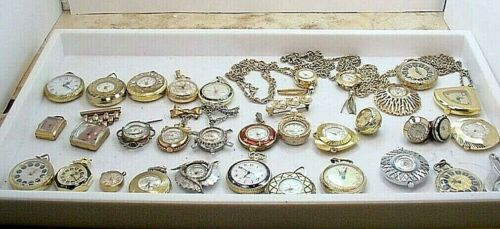 33 PC VINTAGE WIND UP LADIES PENDANT WATCH GROUP  REPAIR PARTS  UNTESTED  AS IS <br/> VARIOUS BRANDS & TYPES OF OLDER PENDANT STYLE WATCHES