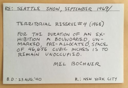 MEL BOCHNER card 1969 Lucy Lippard 557,087 exhibit seattle vancouver