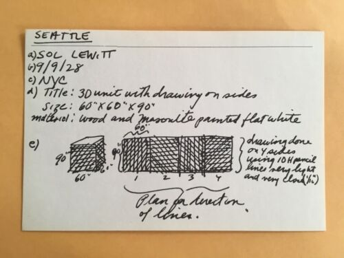 SOL LEWITT card 1969 Lucy Lippard 557,087 exhibit seattle vancouver A