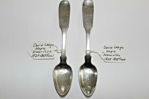 Early American ca 1840 Coin Silver Spoons by DAVID LARGE HOPE Knoxville TN (2)