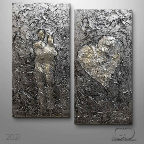 3D Abstract Original Canvas Wall Art Painting Heavy Texture Figures silver 891