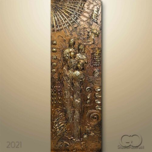 3D Abstract Original Canvas Wall Art Painting Heavy Texture Figures gold 892