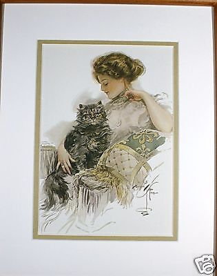 Purrfect Pair Day by Harrison Fisher Kitty Cat Young Woman 5x7 Matted 8x10 Print