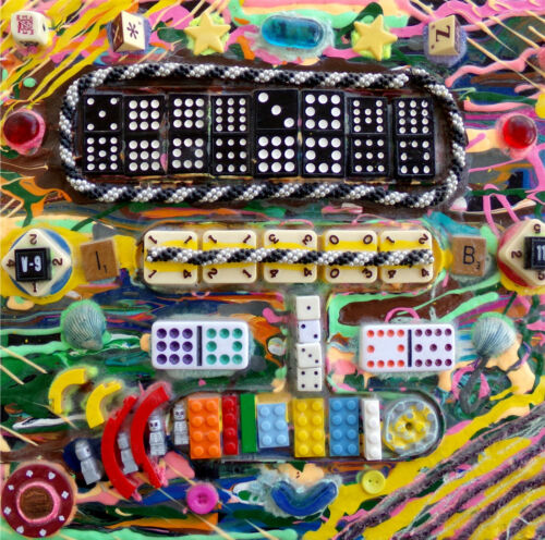 Psychedelic Sheet Metal!! Original Art 3D Collage Painting, Toys, Games, Jewelry