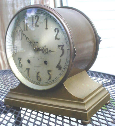 ANTIQUE 8 DAY JEWELED BRASS SETH THOMAS SHIPS BELLS CLOCK AS IS N/R