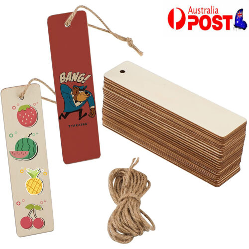 36Pcs Unpainted Wooden Bookmark DIY Making Craft Gift Unfinished Blank Bookmarks