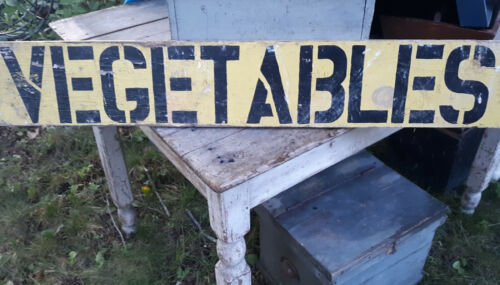 FABULOUS BIG OLD DOUBLE SIDED WOOD FARM MARKET SIGN OLD PAINT,LETTERING AAFA NR