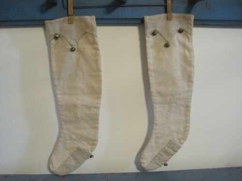 Two Old Antique Hand Made Cloth Christmas Stockings with Bells New England Find