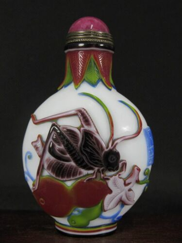 Chinese Cricket Melon Carved Peking Fifth Floor Overlay Glass Snuff Bottle