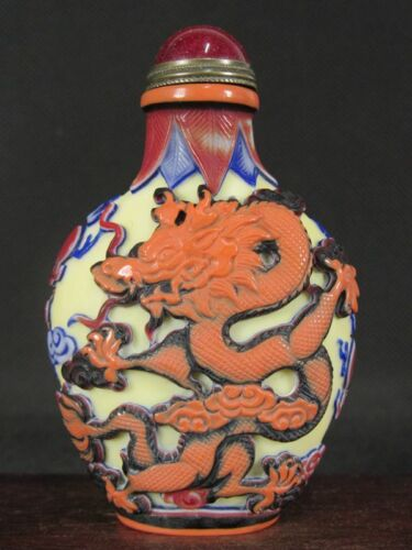 Chinese Two Dragon Carved Peking Fifth Floor Overlay Glass Snuff Bottle