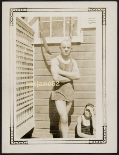 BEEFY MUSCLE HUNK MAN in a WOOL SWIMSUIT VINTAGE PHOTO GAY INT