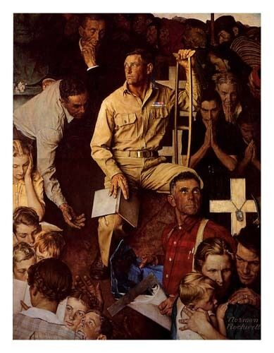 Norman Rockwell WWII WW2 Print LONG SHADOW OF LINCOLN