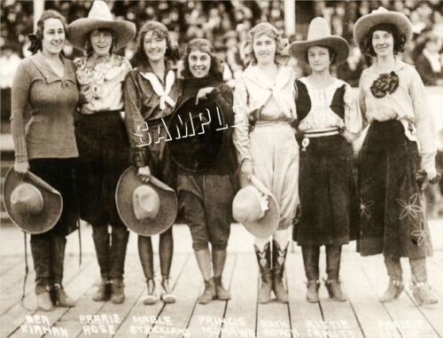 7 VINTAGE WESTERN RODEO COWGIRLS PHOTO *CANVAS* ART