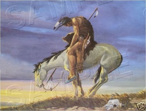 """END OF THE TRAIL"" AMERICAN INDIAN *CANVAS* ART ~ LARGE"