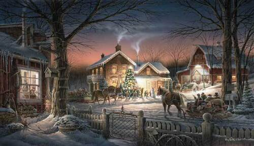 Terry Redlin Trimming the Tree Christmas Holiday S/N Art Print