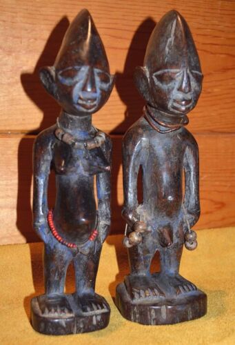 Antique Yoruba Tribe Ibeji Twin Figures Hand Carved Wood Statues, Nigeria Africa