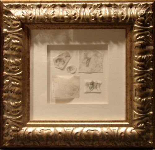 Guillaume Azoulay Horses 5 framed Original Pencil Drawings L@@K SUBMIT AN OFFER!