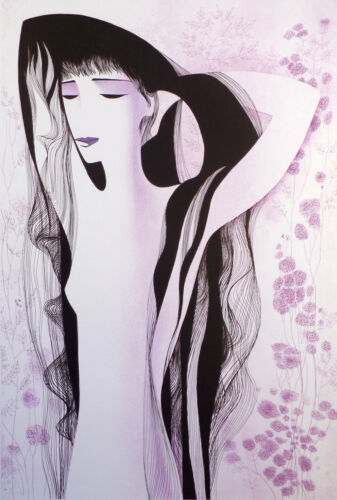 """Eyvind Earle """"Girl With Raven Hair"""" Hand Signed Lithograph Artwork, Make Offer!"""