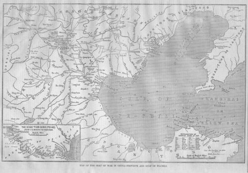 CHINA SEAT OF WAR 1860 MAP PEKING RIVER TIEN-SING PEI-HO HARPER'S WEEKLY MAP