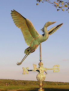 """PATINA COPPER """"HERON """" WEATHERVANE MADE IN USA #201G"""