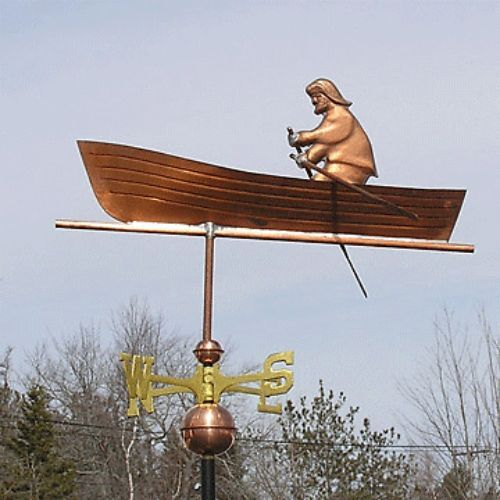 """COPPER """"MAN IN BOAT """" WEATHERVANE MADE IN USA #208"""