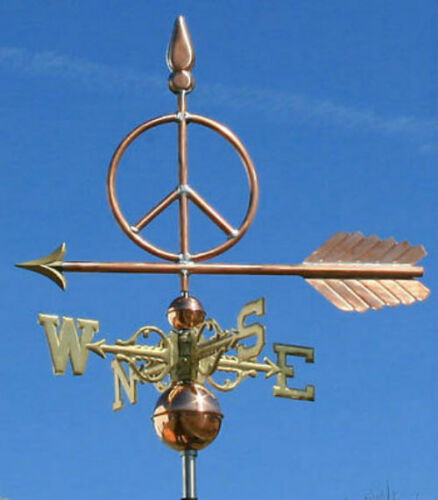 """SWEET COPPER """"PEACE SIGN"""" WEATHERVANE  472 MADE IN USA"""