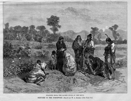 STANDING ROCK SACRED STONE OF THE SIOUX INDIAN CEREMONY HARPER'S WEEKLY HISTORY