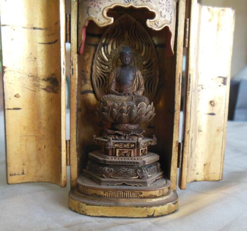 Antique Japanese 1800's Buddhist Zushi traveler' shrine miniature Buddha temple