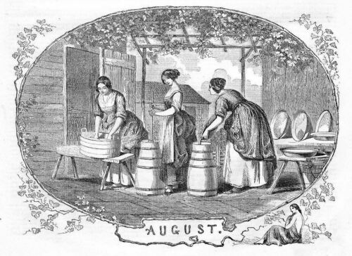 DAIRY MAIDS BUTTER MAKING IN AUGUST, ANTIQUE ENGRAVING