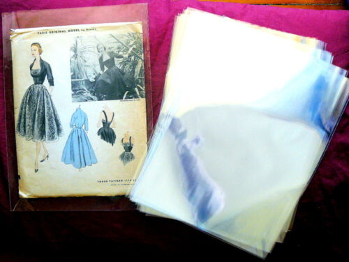 """VARIETY PACK 50 CELLO Protective SEWING PATTERN SLEEVES 9"""" x 12"""" &  6.5"""" x 9.5"""""""