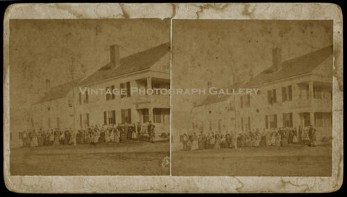 Antique Stereoview Photo Building With Group of People Limerick Maine