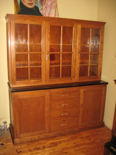 WE SHIP! Oak School Cabinet Step Back Cupboard China Bookcase E H Sheldon 1920's