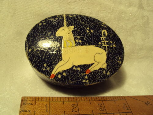 Vintage Antique? GUTTA PERCHA Paper Mache UNICORN BOX