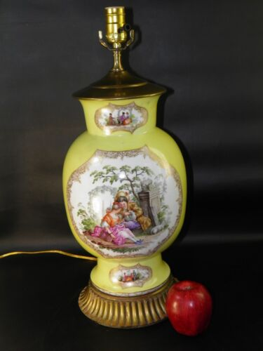 Antique19th C Dresden Hand Painted Figural Porcelain Lamp