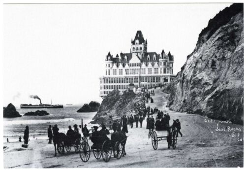 c.1900 SAN FRANCISCO VICTORIAN CLIFF HOUSE with HORSES&BUGGIES~NEW 1980 POSTCARD